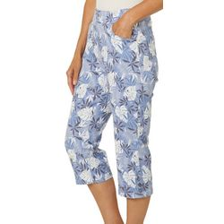 Coral Bay Womens Tropical Palm Print Pull On Capris