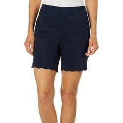 Coral Bay Womens Millennium Solid Scallop Hem Bermuda Shorts