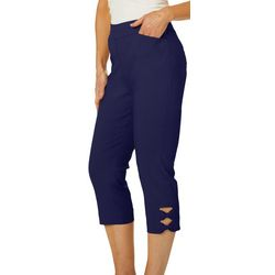 Coral Bay Womens Solid Bow Hem Detail Capris