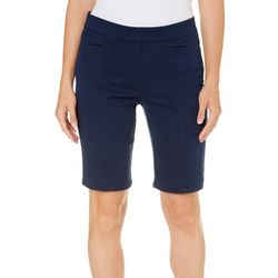 Coral Bay Womens Pull On Stretch Bermuda Shorts