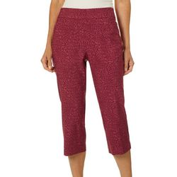 Coral Bay Womens Millennium Pull On Animal Print Capris