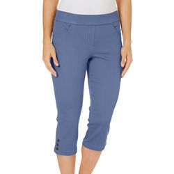 Coral Bay Womens Relaxed Pull On Rivet Hem Capris