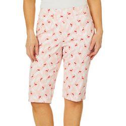 Coral Bay Womens Palm Flamingo Print Pull On Bermuda Shorts