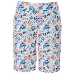 Coral Bay Womens Floral Print Pull On Bermuda Shorts