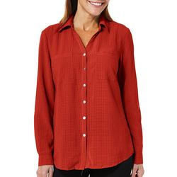 Coral Bay Womens Checkered Button Down Top