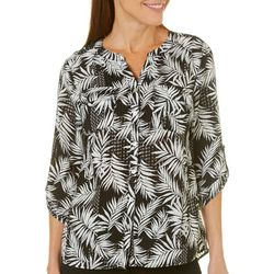 Coral Bay Womens Tropical Roll Tab Button Down Top