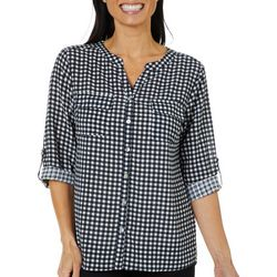 Coral Bay Womens Gingham Roll Tab Button Down Top