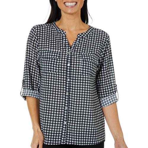 5f6e7ebfb73 Coral Bay Womens Gingham Roll Tab Button Down Top
