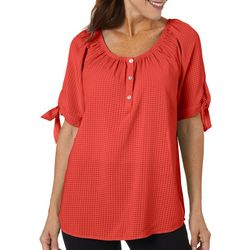 Coral Bay Womens Solid Woven Tie Sleeve Top
