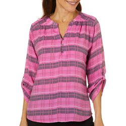Coral Bay Womens Pink Plaid Top