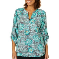 Coral Bay Womens Geometric Floral Button Placket Top