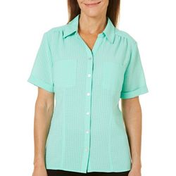 Coral Bay Womens Windowpane Button Up Woven Top