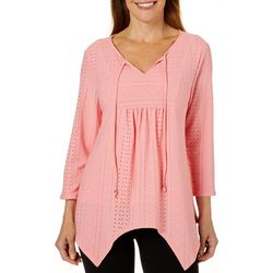 Coral Bay Womens Solid Eyelet Sharkbite Hem Top
