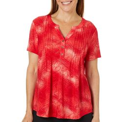 Coral Bay Womens Tie Dye Pintuck Button Placket Top