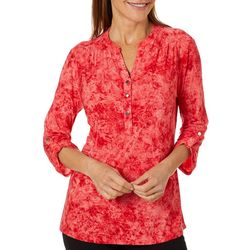 Coral Bay Womens Floral Pleated Button Placket Top