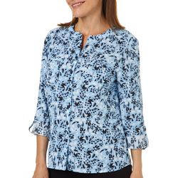 Coral Bay Womens Floral Butterfly Roll Tab Top