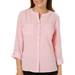 Coral Bay Womens Pin Striped Button Down Roll Tab Top