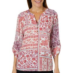 Coral Bay Womens Mixed Patchwork Roll Tab Henley