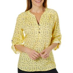 Coral Bay Womens Bubble Dot Button Down Henley Top