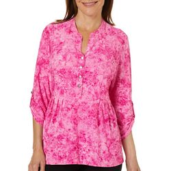 Coral Bay Womens Pleated Floral Button Placket Top
