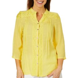 Coral Bay Womens Solid Lace Panel Button Down Top