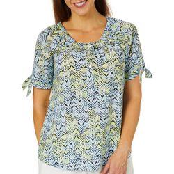 Coral Bay Womens Arrow Print Tie Sleeve Top