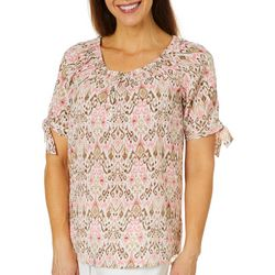 Coral Bay Womens Damask Print Tie Sleeve Top