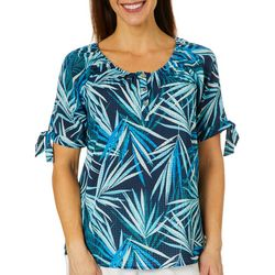 Coral Bay Womens Geometric Leaf Print Tie Sleeve Top