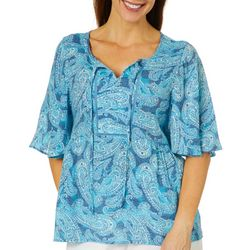 Coral Bay Womens Crochet Paisley Tie Neck Top