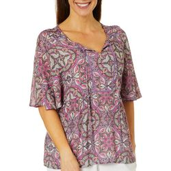 Coral Bay Womens Crochet Medallion Split Neck Top