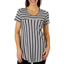 Coral Bay Womens Mixed Stripe Short Sleeve Top