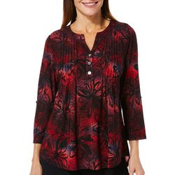 Coral Bay Womens Pleated Floral Roll Tab Top