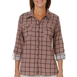 Coral Bay Womens Mixed Plaid Button Down Top