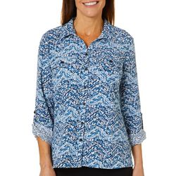 Coral Bay Womens Dot Print Roll Tab Button Down Top