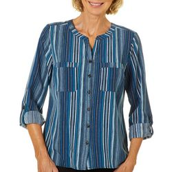 Coral Bay Womens Striped Zig Zag Button Down Top