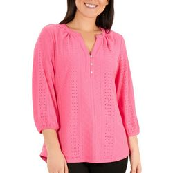 Coral Bay Womens Solid Eyelet Top