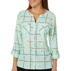 Coral Bay Womens Abstract Plaid Roll Tab Button Down Top