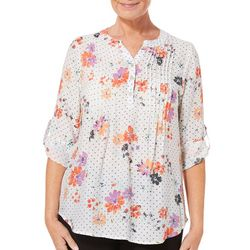 Coral Bay Womens Dotted Floral Pleated Roll Tab Top