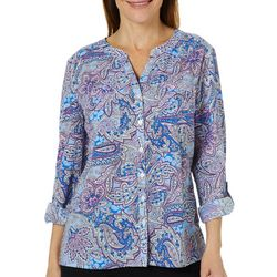Coral Bay Womens Paisley Print Button Down Roll Tab Top