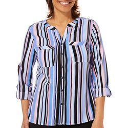 Coral Bay Womens Vertical Striped Roll Tab Button Down Top