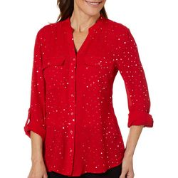Coral Bay Womens Shimmery Dot Button Down Top