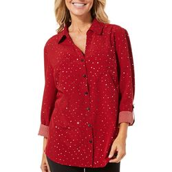 Coral Bay Womens Embellished Geo Button Down Roll Tab Top