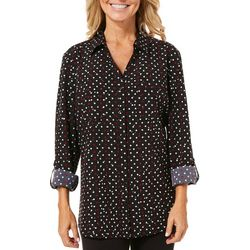 Coral Bay Womens Shiny Dot Button Down Top