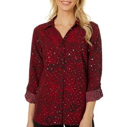 Coral Bay Womens Embellished Floral Paisley Button Down Top