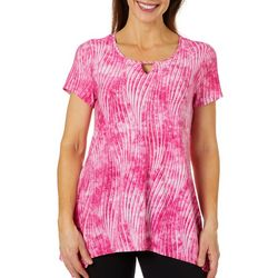 Coral Bay Womens Swirl Breeze Sharkbite Hem Top