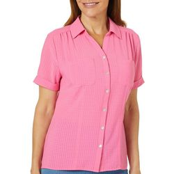 Coral Bay Womens Textured Checkered Button Down Top