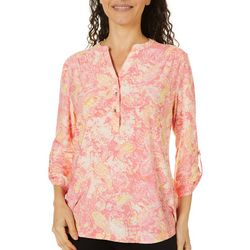 Coral Bay Petite Textured Paisley Print Split Neck Top