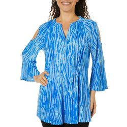 Coral Bay Womens Animal Print Pleated Cold Shoulder Top