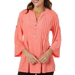 Coral Bay Womens Solid Pleated Cold Shoulder Top