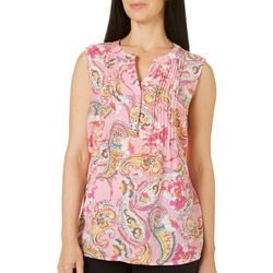 Coral Bay Womens Pleated Paisley Sleeveless Top